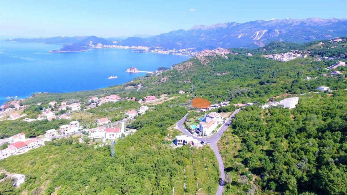 budva land with planning for villa